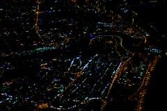 Sch?nes Fotobild von Istanbul in der Nacht vom Flugzeug stockfotografie