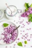 Sch?nes neues purpurrotes lila blossomsHomemade Vorbereiten des lila Zuckers mit ?berraschendem Duft lizenzfreies stockbild
