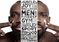 Sch?nheitsmann-Gesichtsportr?t mit perfekter Haut lizenzfreie abbildung