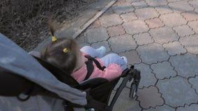 Sch?tzchen in sitzendem Spazierg?nger auf Natur stock video