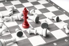 Schaak bedrijfsconcept, leider & succes van hoogste mening stock afbeelding