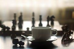 Schaak en koffie Stock Afbeelding