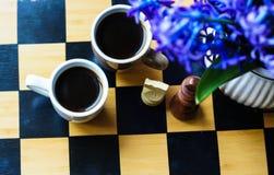 Schaak en koffie Royalty-vrije Stock Afbeelding