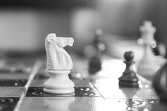 Schaak op een schaakbord wordt gefotografeerd dat Stock Foto