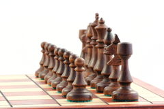 Schaak op schaakbord stock foto