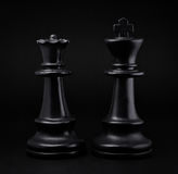 Schaak Zwarte koning en koningin Stock Foto's