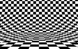 Schaakbord gebogen achtergrond leeg in perspectief, vectorillustratie stock illustratie