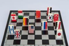 Schaakbord met vlaggen van landen Royalty-vrije Stock Afbeeldingen