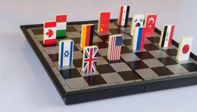 Schaakbord met vlaggen van landen Royalty-vrije Stock Foto's