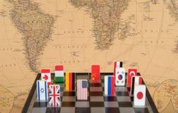 Schaakbord met vlaggen van landen Royalty-vrije Stock Afbeelding