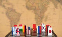 Schaakbord met vlaggen van landen Royalty-vrije Stock Foto