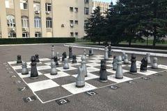Schaakbord op asfalt en schaakstukken in Penza, Rusland wordt geschilderd dat stock foto