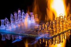 Schaakbrand en ijs Royalty-vrije Stock Foto's