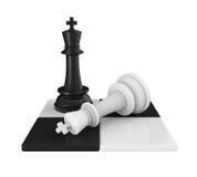 Schaakkoning Pieces Checkmate Royalty-vrije Stock Afbeeldingen