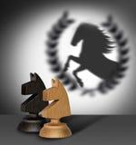 Schaakpaard met schaduw als winnaar Stock Foto