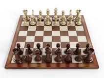 Schaakraad met houten schaakstukken Royalty-vrije Stock Foto