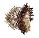 Schaakraad met houten schaakstukken Stock Foto