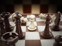 Schaakraad met houten schaakstukken Stock Foto's