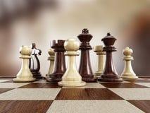 Schaakraad met houten schaakstukken Royalty-vrije Stock Foto's