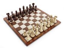 Schaakraad met houten schaakstukken Royalty-vrije Stock Fotografie