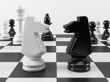 Schaakridders in Confrontatie Royalty-vrije Stock Fotografie