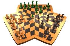Schaakspel met drie richtingen dat op witte achtergrond wordt geïsoleerdv vector illustratie