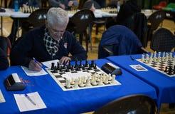 Schaakspeler die vóór toernooien voorbereidingen treffen Royalty-vrije Stock Foto