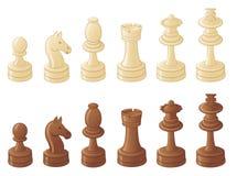 Schaakstukken die op wit worden geïsoleerdd vector illustratie