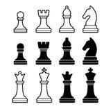 Schaakstukken met inbegrip van de Ridder van Koningsqueen rook pawn Royalty-vrije Stock Foto's