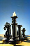 Schaakstukken op de raad Stock Foto
