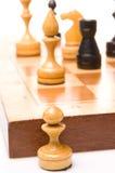Schaakstukken op een schaakbord Royalty-vrije Stock Afbeelding