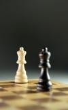 Schaakstukken op schaakbord Stock Foto