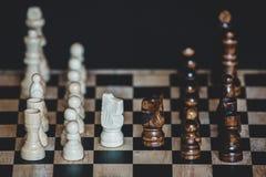Schaakstukkenridders die elkaar voor een afstand houden op chessbo onder ogen zien royalty-vrije stock afbeeldingen