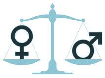 Schaal in evenwicht met mannelijke en vrouwelijke pictogrammen Stock Afbeeldingen