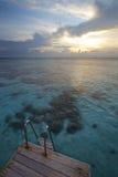 Schaal, lagune en zonsondergang Stock Afbeelding