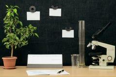 schaar en potloden op de achtergrond van kraftpapier-document Terug naar het Concept van de School Royalty-vrije Stock Afbeelding