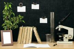schaar en potloden op de achtergrond van kraftpapier-document Terug naar het Concept van de School Stock Foto's