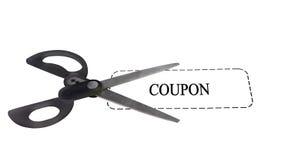 Schaar met coupon stock afbeeldingen