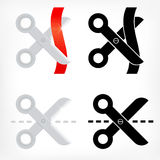 Schaarpictogrammen geplaatst scherp streepjelijn en lint Stock Fotografie