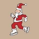 Schaats Santa Christmas Royalty-vrije Stock Foto's