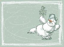 Schaatsende sneeuwman Royalty-vrije Stock Foto