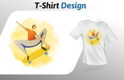 Schaatser het wegknippen op de druk van de raadst-shirt Spot op het malplaatje van het t-shirtontwerp Vectordiemalplaatje, op wit Stock Afbeelding