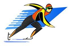 Schaatser, mens die op ijs schaatsen Stock Afbeelding
