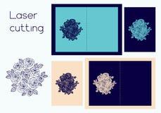Schablone der Abdeckung für die Heirat oder den Gruß für Laser-Ausschnitt lizenzfreie abbildung