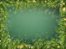 Schablone der frohen Weihnachten und des guten Rutsch ins Neue Jahr mit Feiertagstannenbaumasten, bokeh Beschneidungspfad eingesc stock abbildung