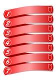 Schablone der grafischen Darstellung des Arbeitsprozesses in sieben Schritten Stockfotografie