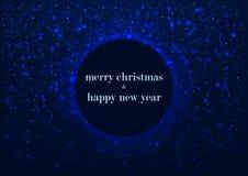 Schablone der Grußkarte, der frohen Weihnachten und des guten Rutsch ins Neue Jahr, mit rundem Rahmen, glühender blauer Winterhin Lizenzfreie Stockbilder