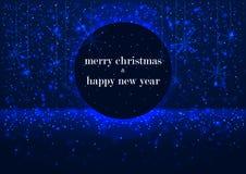 Schablone der Grußkarte, der frohen Weihnachten und des guten Rutsch ins Neue Jahr, mit rundem Rahmen, glühender blauer Winterhin Stockfotos