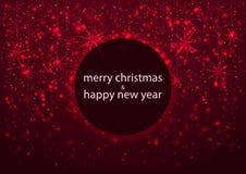 Schablone der Grußkarte, der frohen Weihnachten und des guten Rutsch ins Neue Jahr, mit rundem Rahmen, glühender redsnowflakes Hi Lizenzfreie Stockfotografie