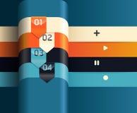Schablone der modernen Auslegung/verwendet für infographics/nummerierte Fahne Stockfoto
